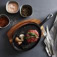 Serpenyő Alátéttel Steaky - Natúr/Fekete, konvencionális, Fa/Fém (37,5/18,5/3,5cm) - Premium Living