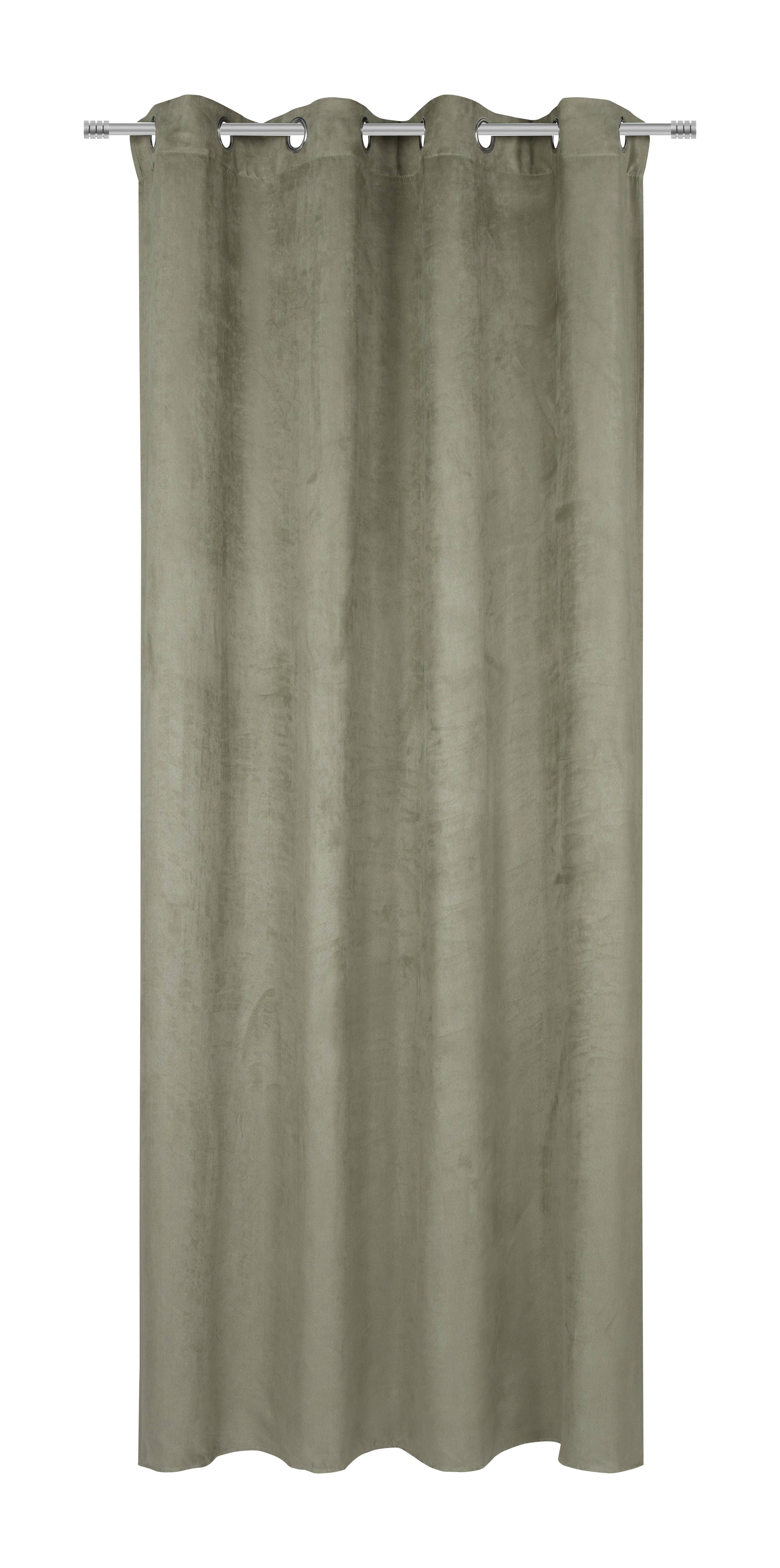 Ösenvorhang Velours in Grün ca. 140x245cm