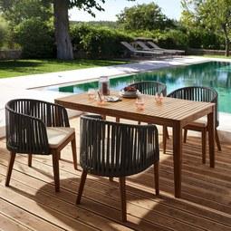 Gartentischgruppe Victoria inkl. Auflagen - Akaziefarben/Grau, MODERN, Holz/Kunststoff - MODERN LIVING