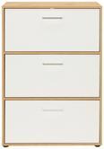 Schuhschrank Weiß/Eichefarben - Chromfarben/Eichefarben, MODERN, Holzwerkstoff/Kunststoff (69/99/38cm)