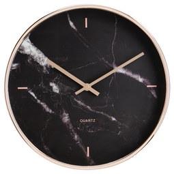 Uhr Priya in Schwarz ca.Ø30,4cm - Schwarz, MODERN, Glas/Kunststoff (30,4cm) - Bessagi Home
