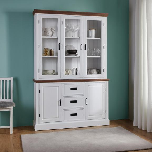 Kredenz Melanie - Weiß/Kieferfarben, MODERN, Glas/Holz (138/207/40cm) - Modern Living