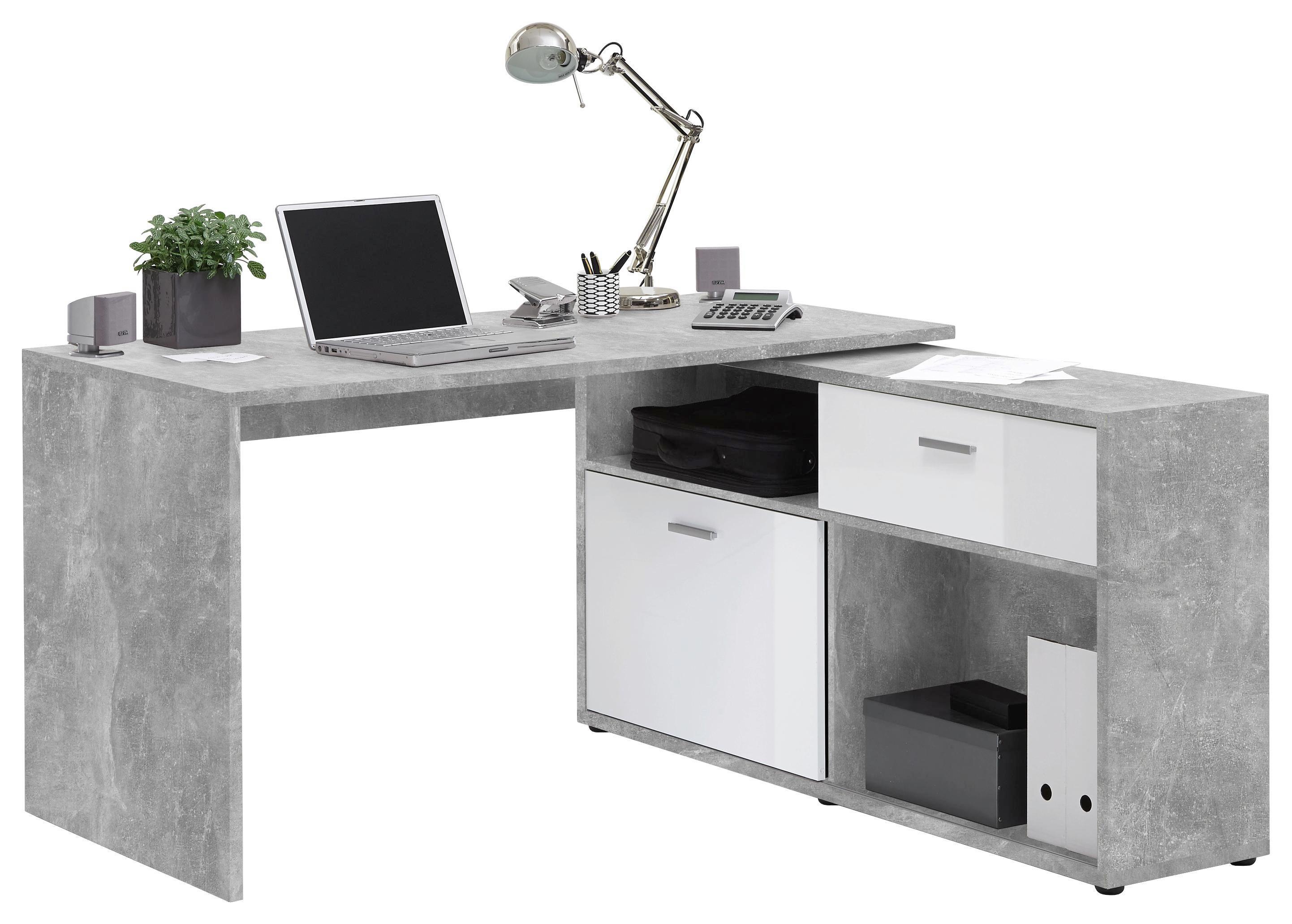 Eckschreibtisch weiß holz  Eckschreibtisch in Weiß/Grau online kaufen ➤ mömax