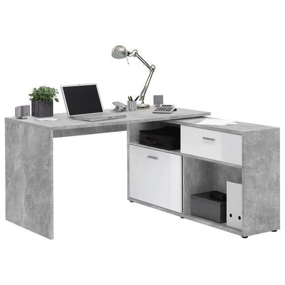 Eckschreibtisch in Weiß/Grau - Chromfarben/Weiß, MODERN, Holzwerkstoff/Kunststoff (138/75/68cm) - Mömax modern living