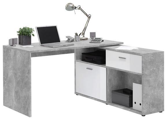 Eckschreibtisch Weiß/Grau - Chromfarben/Weiß, MODERN, Holzwerkstoff/Kunststoff (138/75/67.5cm) - Mömax modern living