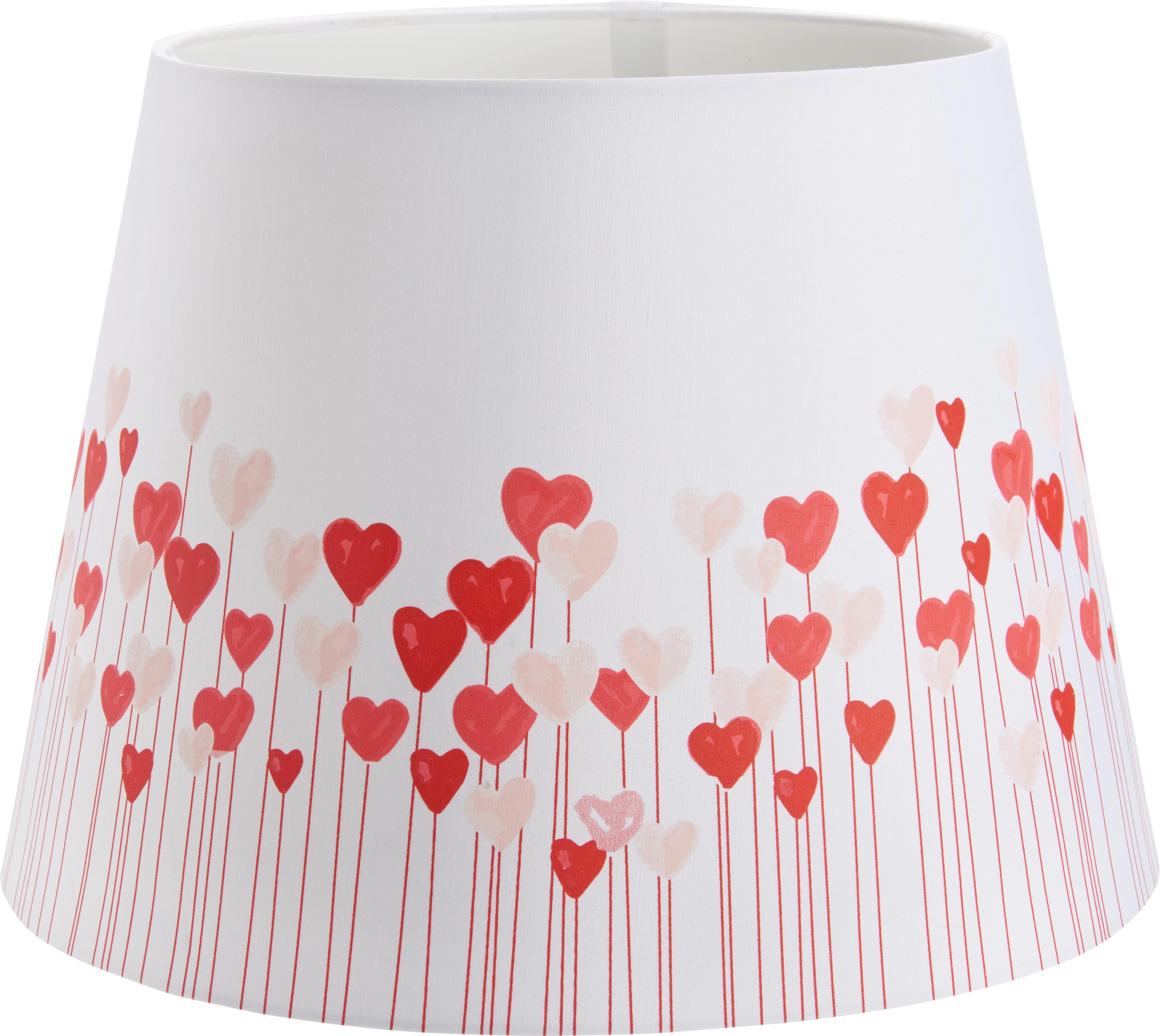 Leuchtenschirm Lovely in Rot/Weiß - Rot/Weiß, ROMANTIK / LANDHAUS, Textil/Metall (16,5 -20/15,6cm) - MÖMAX modern living