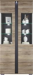 Vitrine aus Eiche - Silberfarben, MODERN, Holz/Kunststoff (90/204/38cm) - PREMIUM LIVING