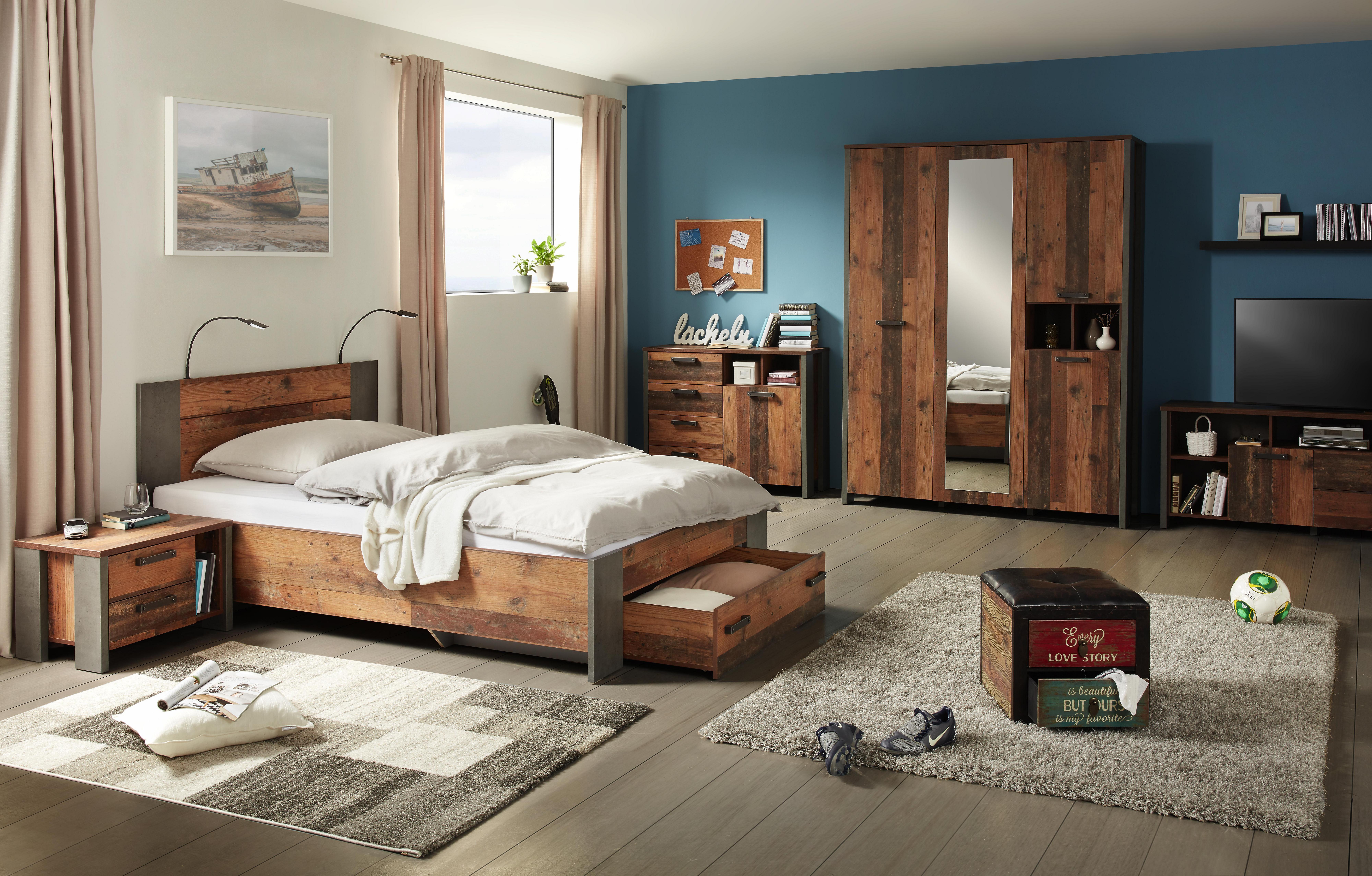 Bett Natur/Grau 120x200cm   Dunkelgrau/Braun, MODERN,  Holzwerkstoff/Kunststoff (