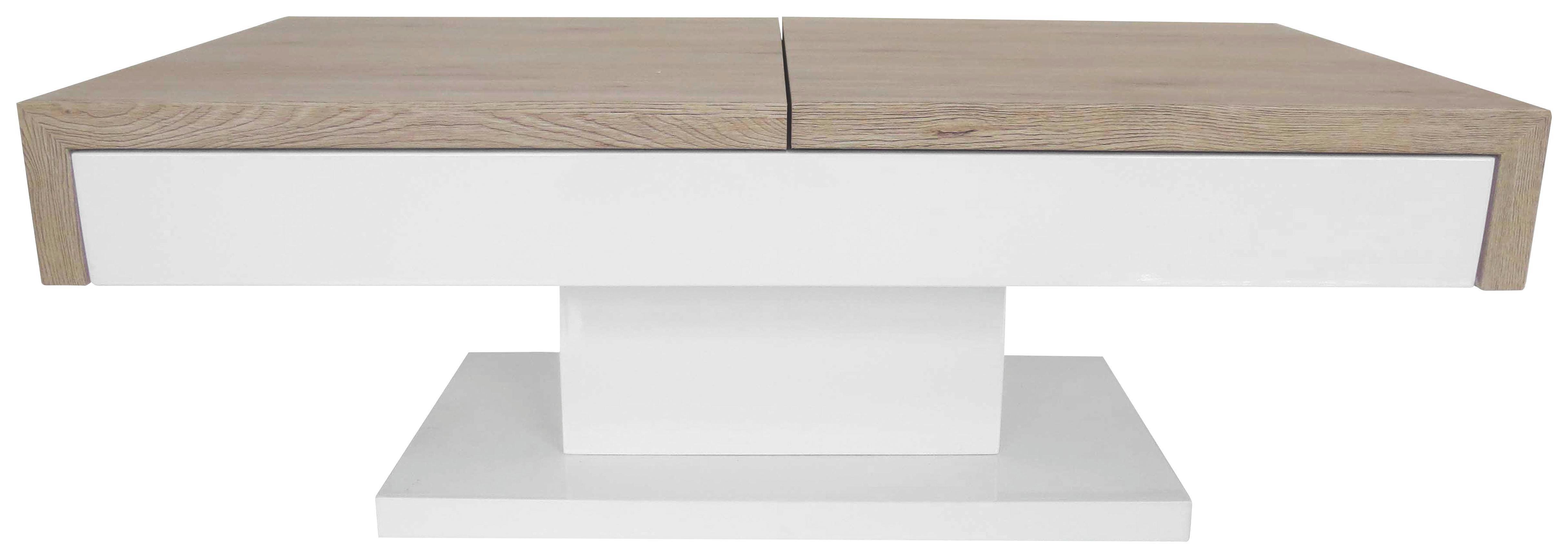 Couchtisch Weiß Hochglanz/eichefarben - Eichefarben/Weiß, Holzwerkstoff (110/40/60cm) - MÖMAX modern living