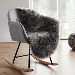 Schaffell in Grau ca. 90x60 cm 'Alena' - Grau, MODERN, Textil (90/60cm) - Bessagi Home
