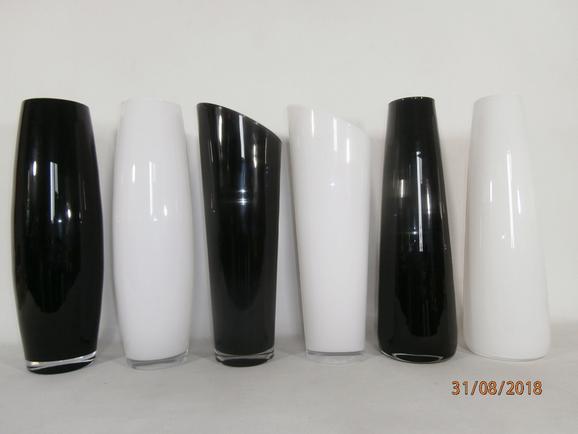 Váza Jenny - Fehér/Fekete, Üveg (50cm) - Mömax modern living