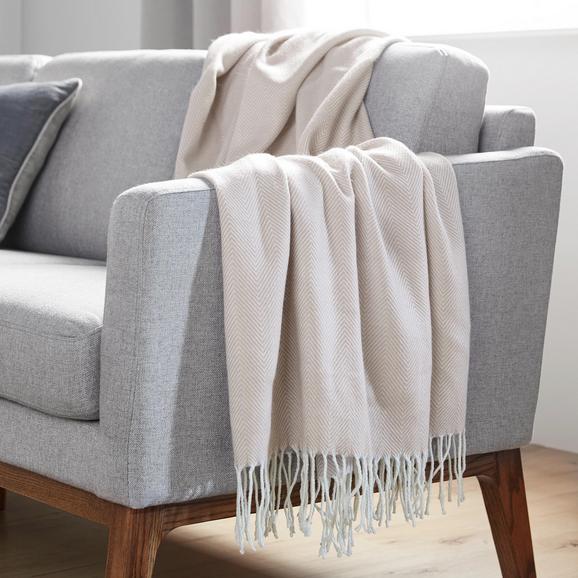 Decke in Natur ca. 130x170 cm 'Emilia' - Naturfarben, MODERN, Textil (130/170cm) - Bessagi Home