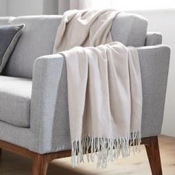 Decke in Natur ca. 130x170cm 'Emilia' - Naturfarben, MODERN, Textil (130/170cm) - Bessagi Home