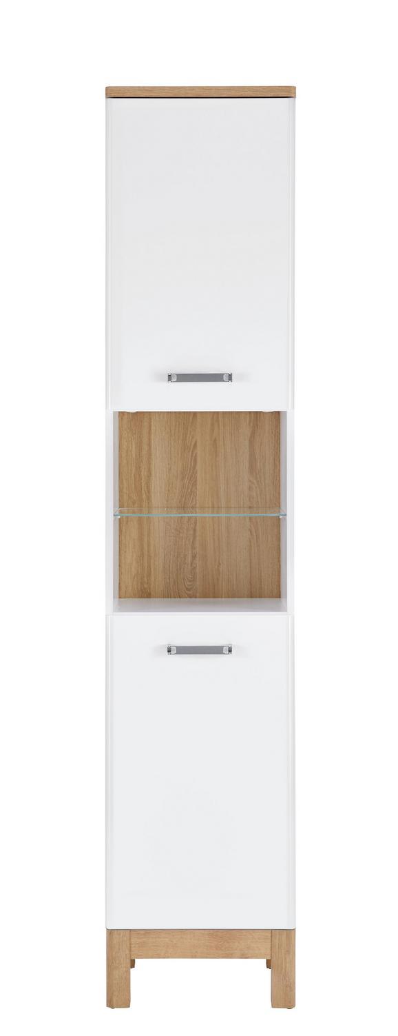 Hochschrank Weiß/Eichefarben - Chromfarben/Eichefarben, MODERN, Holzwerkstoff/Metall (40/197/32cm)