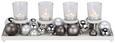 Teelichtständer Ida Grau/Weiß/silberfarben - Silberfarben/Weiß, Glas/Kunststoff (40/14/5,5cm) - Mömax modern living
