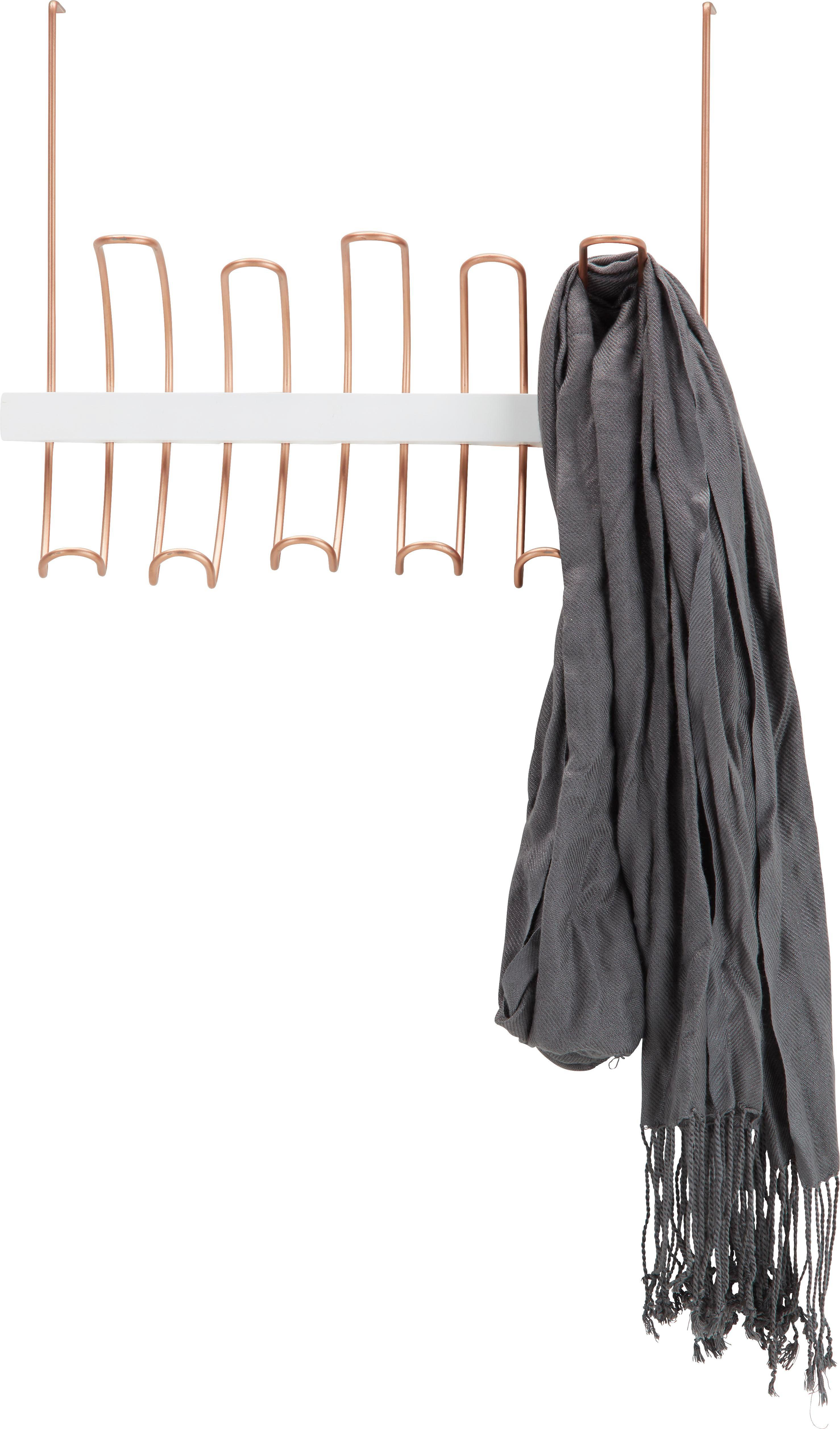Hakenleiste aus Echtholz In Rose - Altrosa/Weiß, Holz/Metall (41,540/32/10cm)