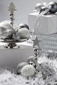 Dekoapfel Noella Silberfarben - Silberfarben, Kunststoff (12,5cm)