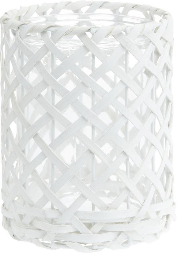 Windlicht Antonia in Weiß aus Glas/Holz - Weiß, ROMANTIK / LANDHAUS, Glas/Holz (14,5/19cm) - Mömax modern living
