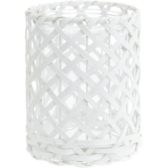 Windlicht Antonia Weiß - Weiß, ROMANTIK / LANDHAUS, Glas/Holz (14,5/19cm) - Mömax modern living