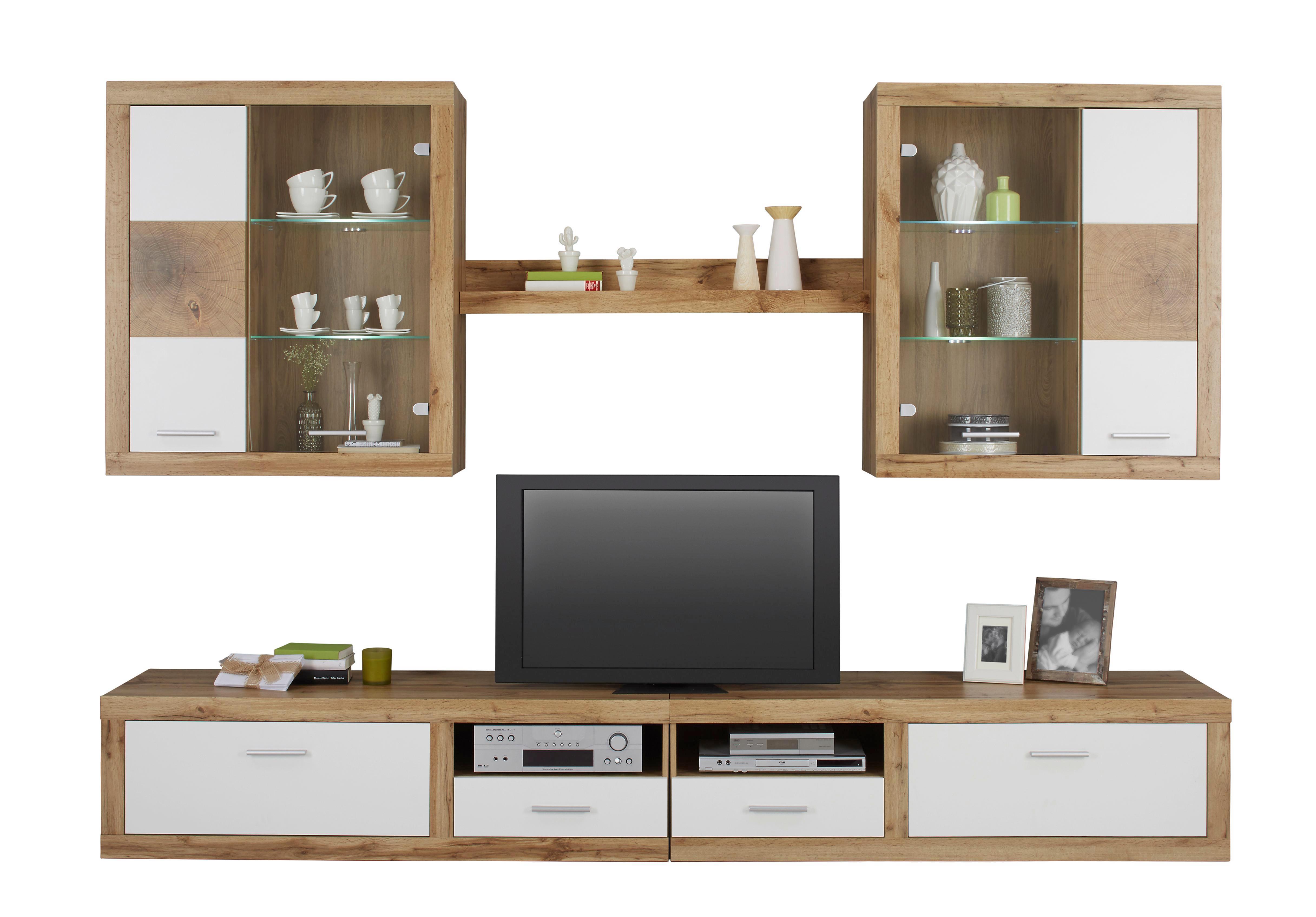 moderne wohnwande eiche, wohnwand weiß/eichefarben online kaufen ➤ mömax, Innenarchitektur