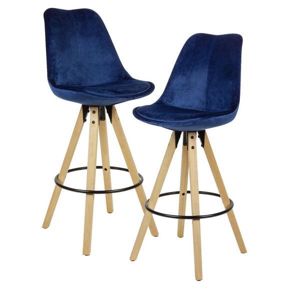 Barhocker in Blau 2-er Set - Blau/Eichefarben, MODERN, Holz/Textil (49/113/49cm) - Livetastic