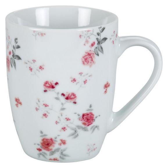 Lonček Za Kavo Roseanne - roza/siva, Romantika, keramika (8,4/10,5cm) - Zandiara