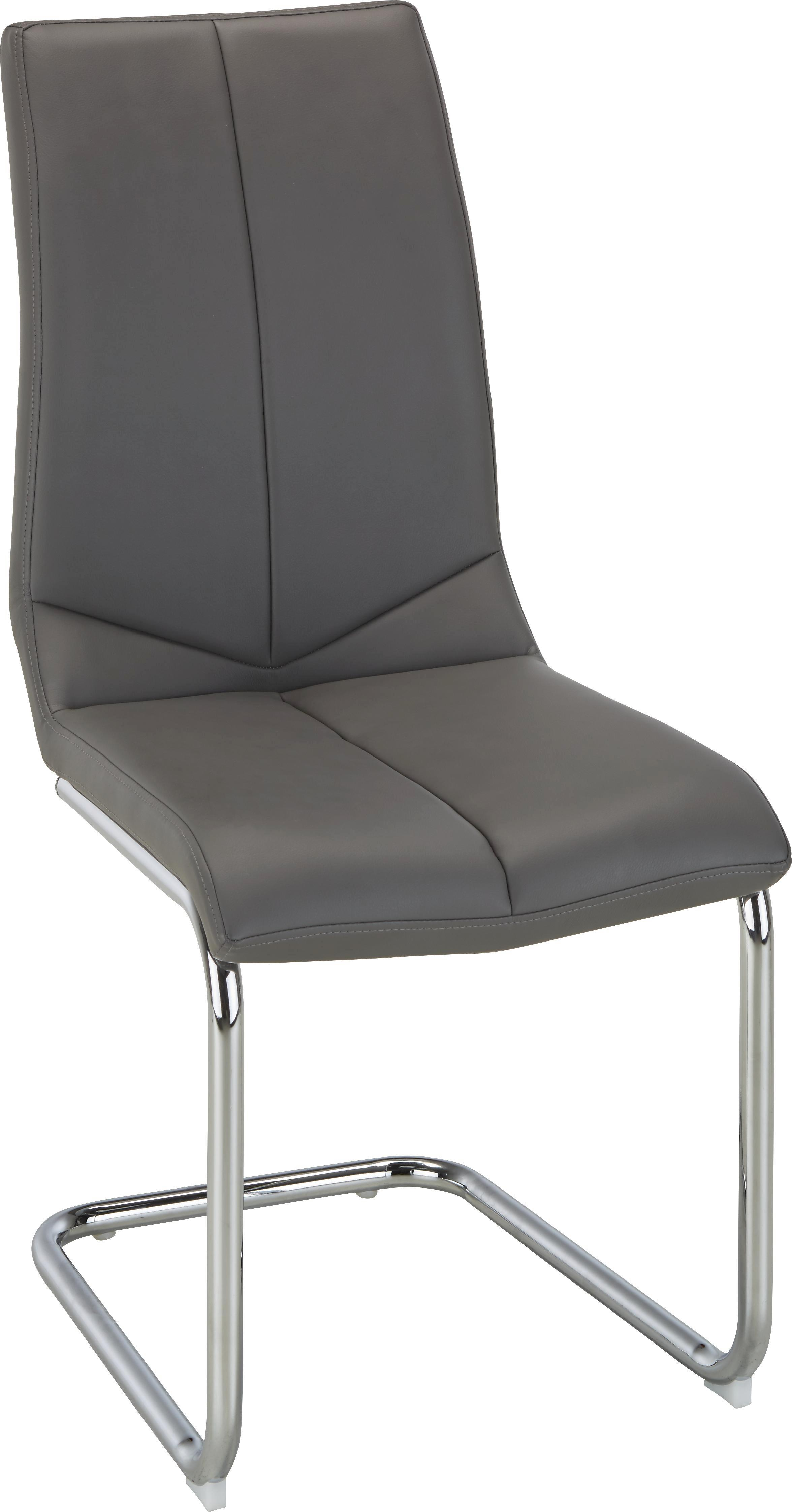 Schwingstuhl in Grau - Chromfarben/Grau, MODERN, Textil/Metall (47/97/56cm) - BASED