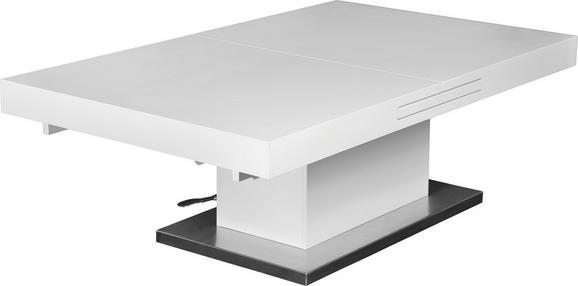 Dohányzóasztal 2in1 - Nemesacél/Fehér, modern, Faalapú anyag/Fém (133/170/47,5/75/80cm)