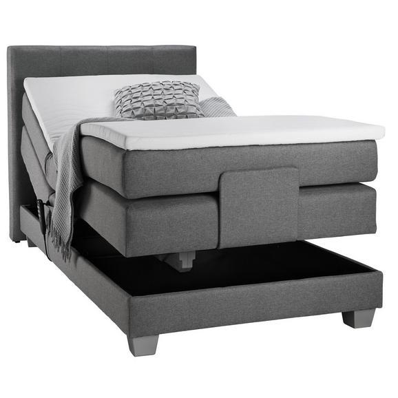 Boxspringbett in Grau ca. 100x200cm - Silberfarben/Grau, KONVENTIONELL, Kunststoff/Textil (215/108/107cm) - Premium Living