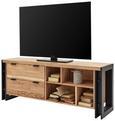 TV-Element Schwarz/Natur - Schwarz/Naturfarben, LIFESTYLE, Metall (160/60/40cm) - Zandiara