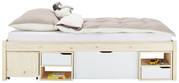 Bett in Naturfarben ca. 90x200cm - Naturfarben/Weiß, MODERN, Holz (90/200cm) - Zandiara
