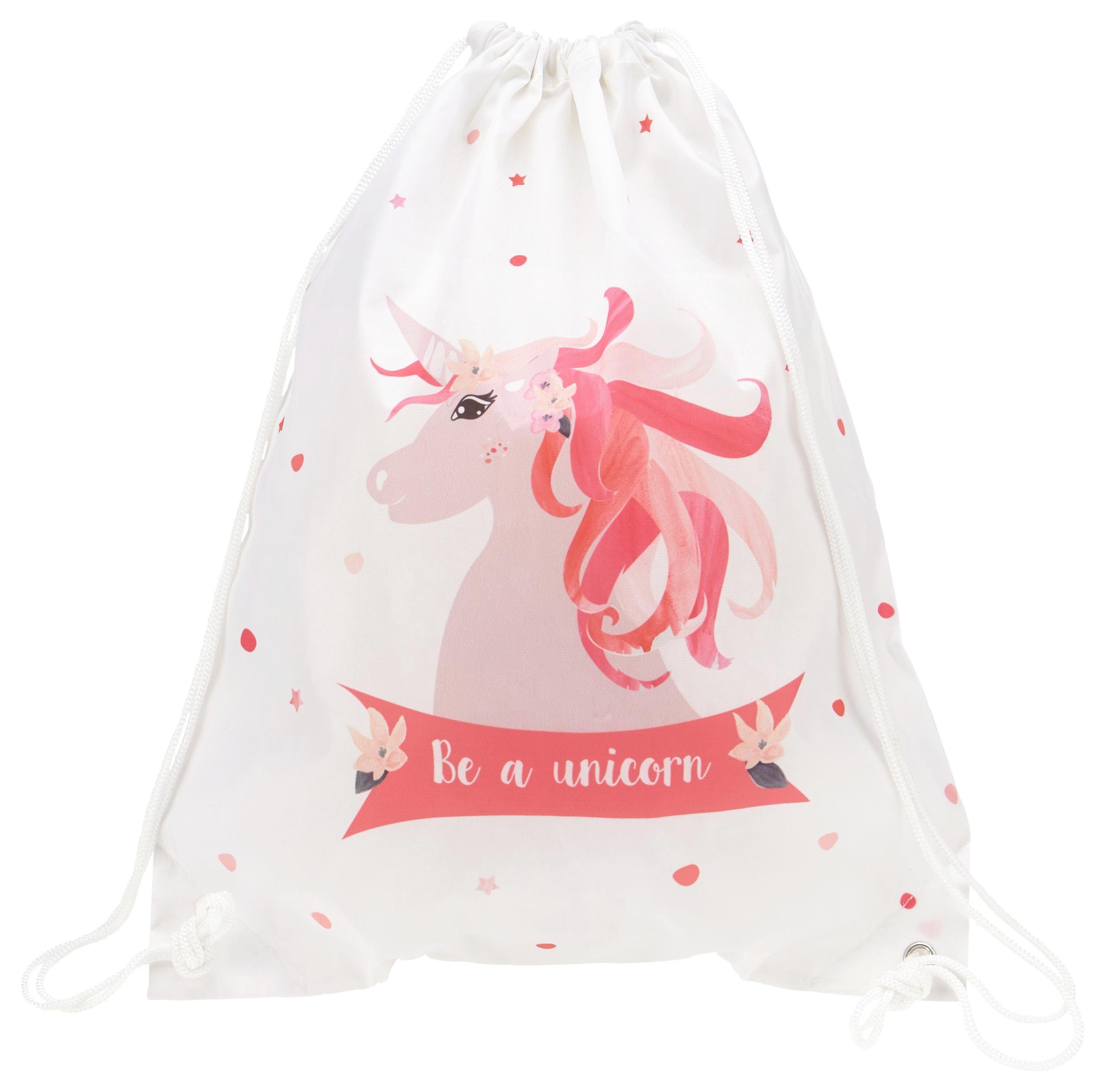 Sportbeutel Unicorn in Rosa/Weiß/pink - Pink/Rosa, Kunststoff (35/40/1cm)
