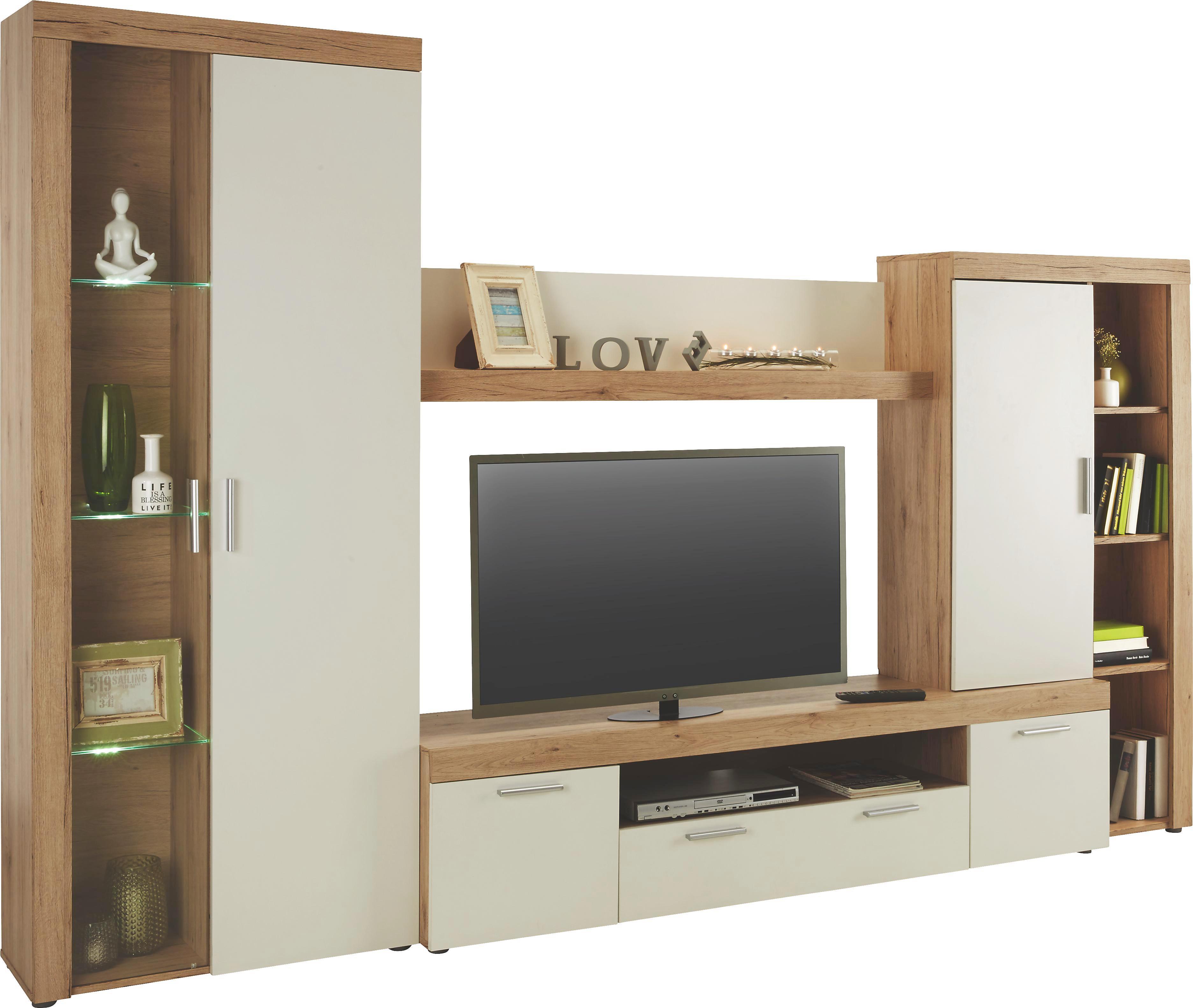Wohnwand Weiß/Eichefarben - Eichefarben/Silberfarben, MODERN, Glas/Holzwerkstoff (303/195/42cm) - MODERN LIVING
