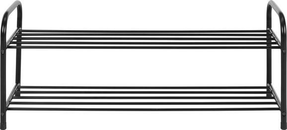Schuhregal in Schwarz mit 2 ablagen - Schwarz, Metall (93/38/35cm) - Mömax modern living