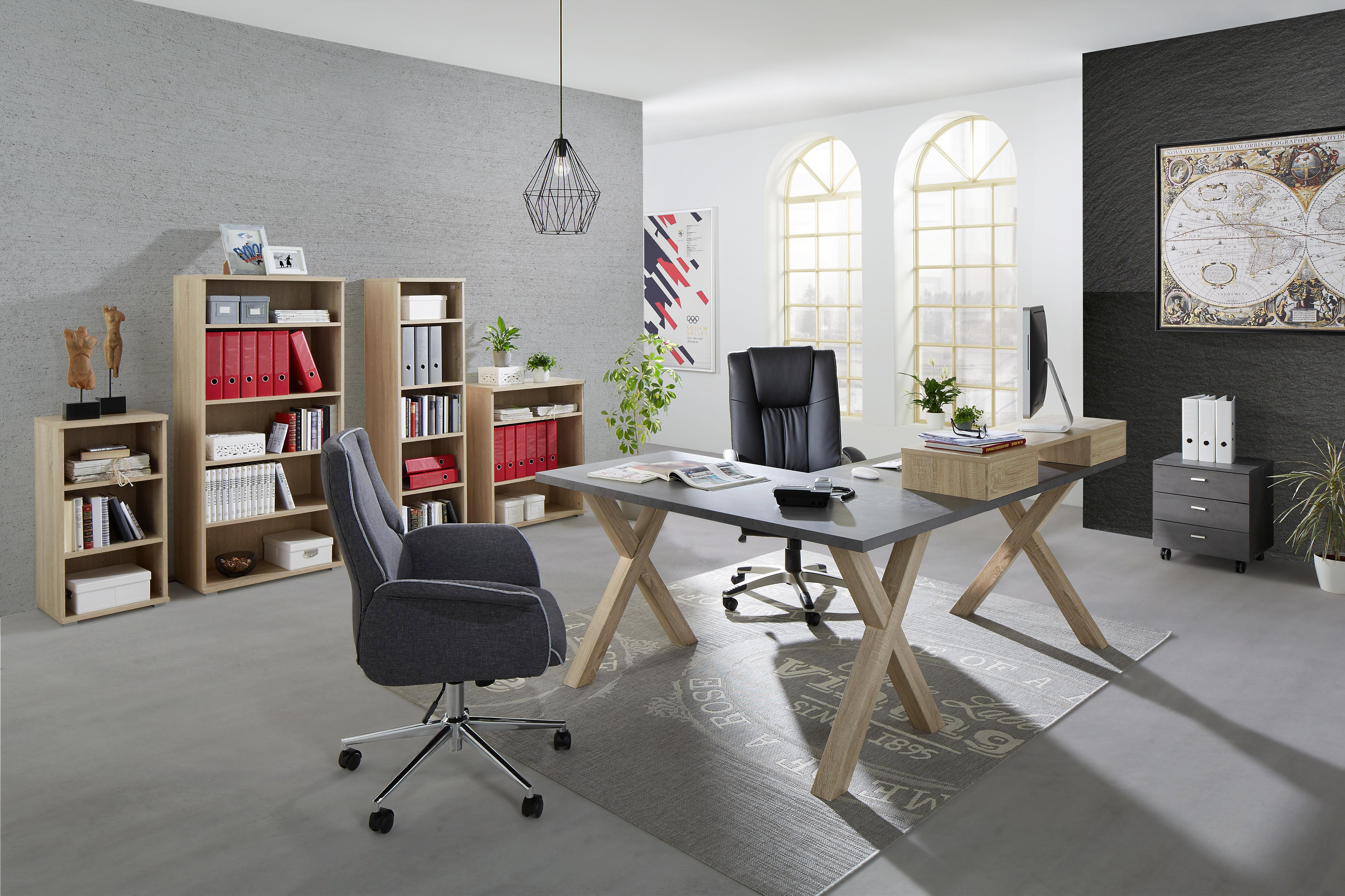 Drehstuhl in Grau - Chromfarben/Dunkelgrau, MODERN, Textil/Metall (69/100-110/70cm) - MÖMAX modern living