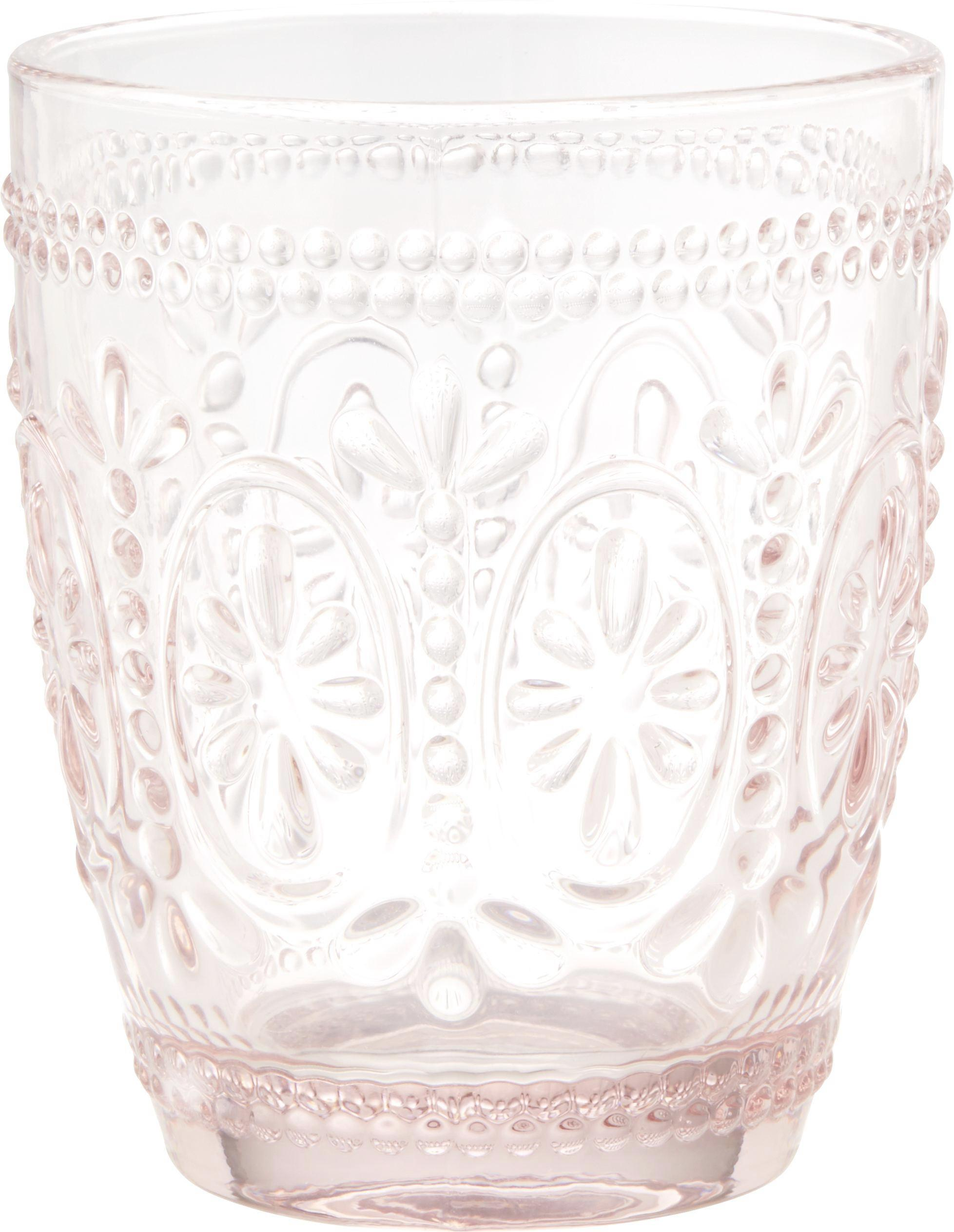 Wasserglas St. Remy in Rosa, ca. 300ml - Rosa, ROMANTIK / LANDHAUS, Glas (8,1/9,8cm) - MÖMAX modern living