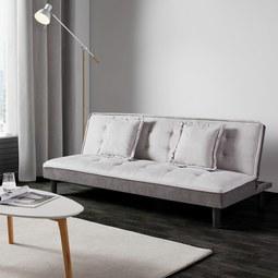 Schlafsofa Babette inkl. 2 Kissen - Hellgrau/Schwarz, MODERN, Kunststoff/Textil (183/81,5/70cm) - MODERN LIVING