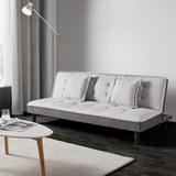 Schlafsofa Babette inkl. Kissen - Hellgrau/Schwarz, MODERN, Kunststoff/Textil (183/81,5/70cm) - MODERN LIVING
