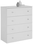 Kommode Weiß Lack - Silberfarben/Weiß, ROMANTIK / LANDHAUS, Holzwerkstoff/Metall (80/92/40cm) - Zandiara