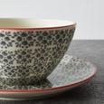 Frühstücksset aus Porzellan 3-teilig ''Mosaico'' - Grau, Keramik - Bessagi Home