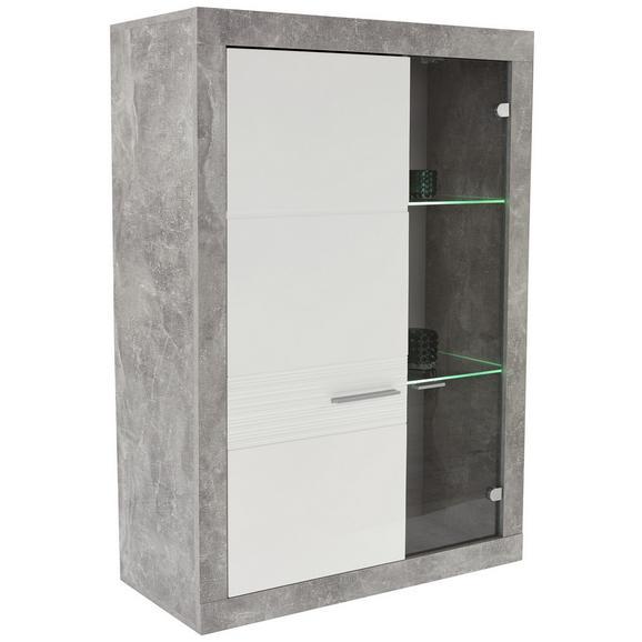 Vitrină Malta - alb/gri, Modern, compozit lemnos (96/132/35cm)