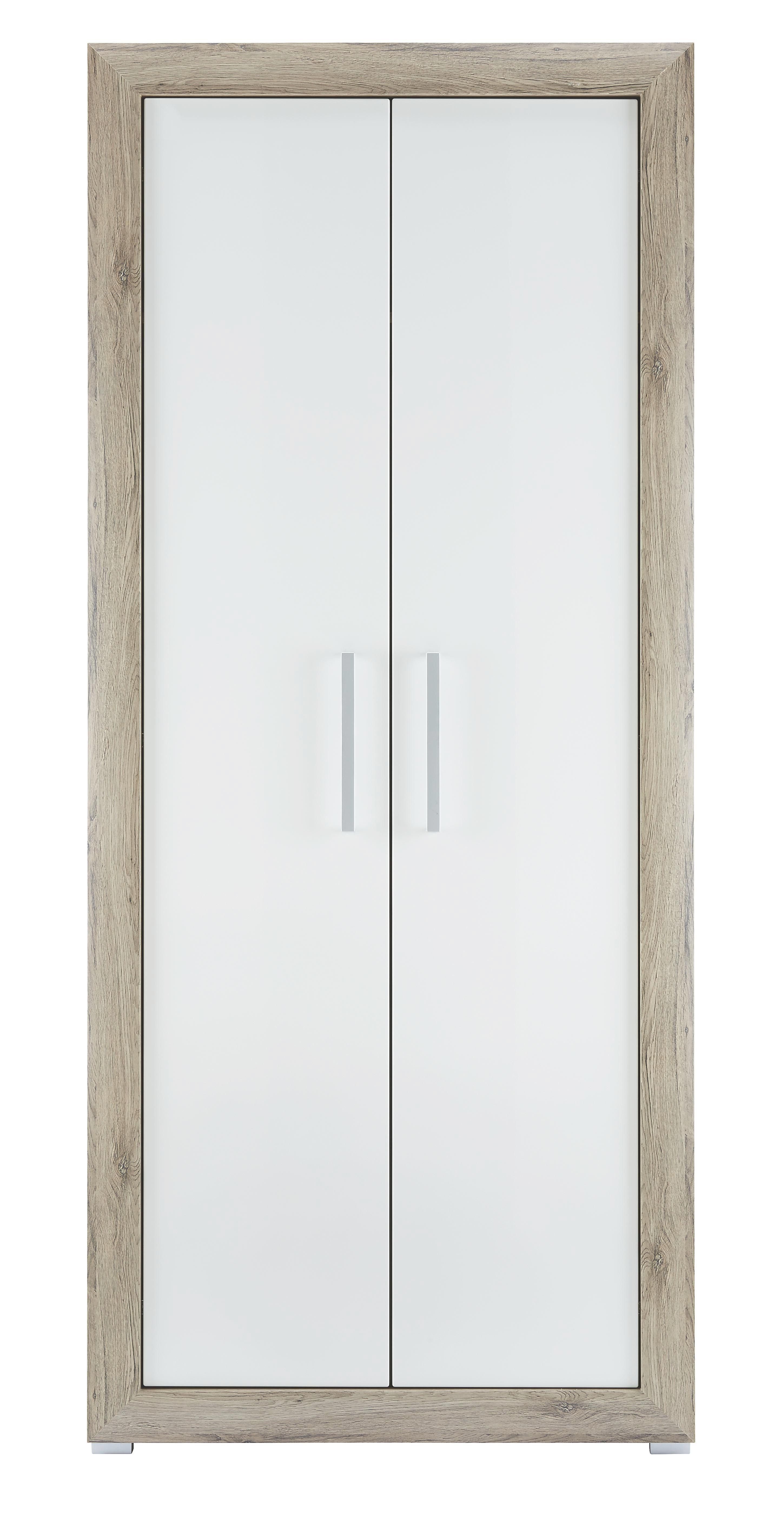 Kleiderschrank weiß hochglanz  Kleiderschrank in Eiche/Weiß Hochglanz online kaufen ➤ mömax