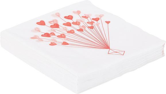Serviette Lovely aus Papier in Rosa/Weiß - Rosa/Weiß, ROMANTIK / LANDHAUS, Papier (16,5/16,5/2,5cm) - Mömax modern living