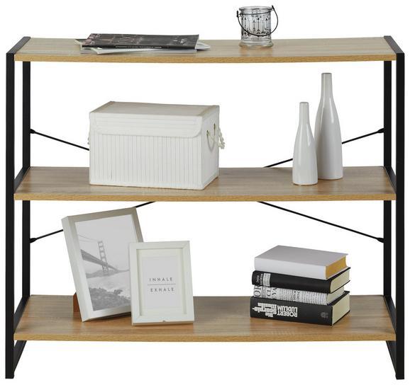 Regal Sonoma Eiche/Schwarz - Schwarz/Sonoma Eiche, MODERN, Holzwerkstoff/Metall (95/79/35cm) - Modern Living