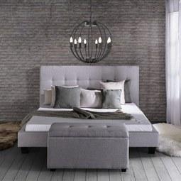 Polsterbett Frederico 180x200cm - Hellgrau/Schwarz, MODERN, Textil/Metall (215/189/112cm) - Mömax modern living