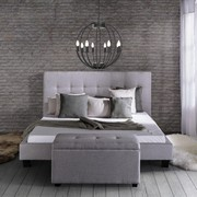 Polsterbett Frederico ca.180x200cm - Hellgrau, MODERN, Holz/Textil (215/189/112cm) - Mömax modern living