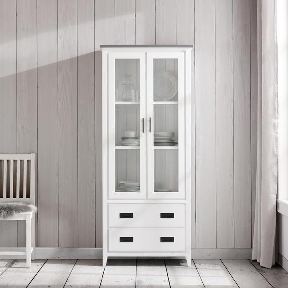 Vitrine in Grau/Weiß 'Liana' - Weiß/Grau, MODERN, Glas/Holz (76/180/36,5cm) - Bessagi Home