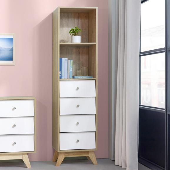 Regal Enny - Weiß/Pinienfarben, MODERN, Holz/Metall (40/160/35cm) - Bessagi Home