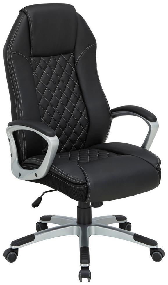 Chefsessel Schwarz - Schwarz/Weiß, Kunststoff (34,5/80/66cm)