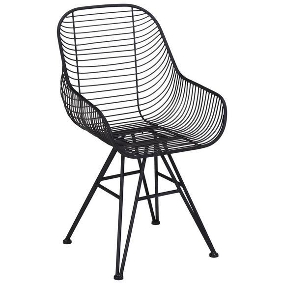 Stuhl in Schwarz aus Metall - Schwarz, MODERN, Metall (56,30/87,50/52cm)
